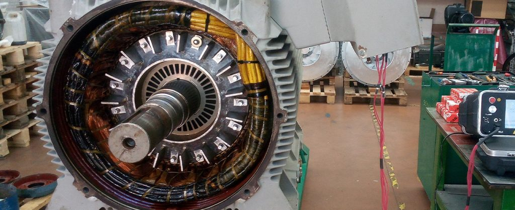 Industrial motor repair and vibration tests